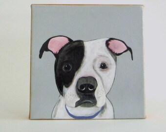dog portrait, painting, dog lover gift idea- custom pet portrait- painting - 8x8 custom painting of your dog- redtilestudio- gift idea