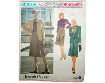 UNCUT Size 14 Vintage Vogue American Designer Original Blouse Jacket & Skirt Sewing Pattern Vogue 2550 Bust 36 Joseph Picone 1980s