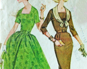 Vintage Dress Slim Skirt or Gathered Skirt McCalls 5619 Bust 34 1960s