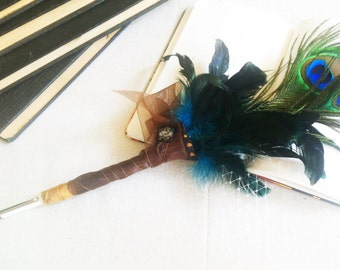 Wedding Guestbook Pen // Peacock Feather