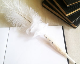 Wedding Guestbook Pen // Decorative White Feather Pen