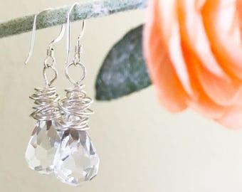 Bridal Earrings // Crystal Teardrops and Sterling Silver