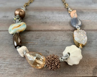 Gem Stones, Leather, & Earth Tones // Necklace