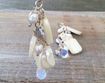 Bridal Earrings with Pearl, Sterling, and Moon Quartz