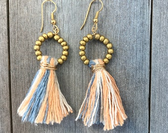 Tassel & Czech glass beaded hoop Earrings
