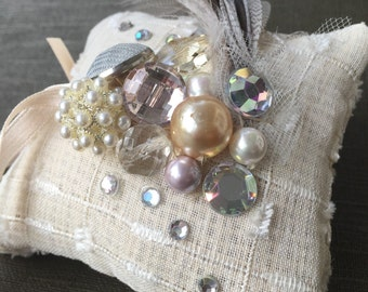 Wedding Ring Pillow // Decorative and Handmade // Vintage Pearls, Crystals, and Feathers
