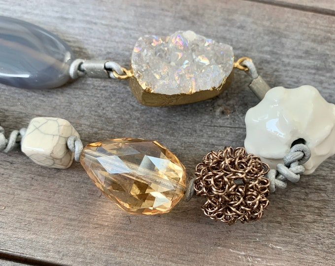 Featured listing image: Gem Stones, Leather, & Earth Tones // Necklace