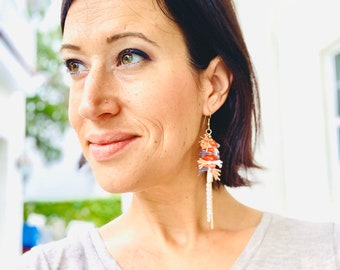 Coral, Cotton, & Hanging Chain Earrings