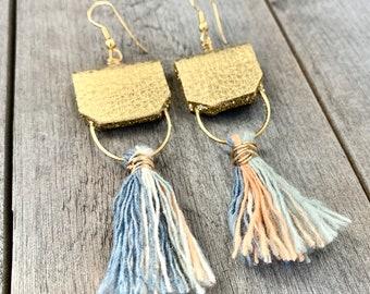 Tassel & Gold Leather Earrings