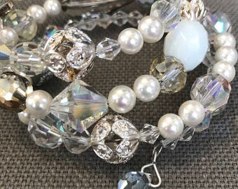 Bridal Pearl and Crystal Bracelet  // No clasp  // Vintage Pearl, Silver, and Crystal