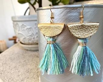 Tassel & Leather Half Moon Earrings