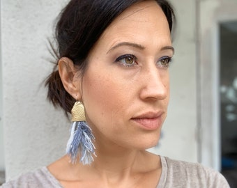 Cotton Tassel Feather & Leather Earrings