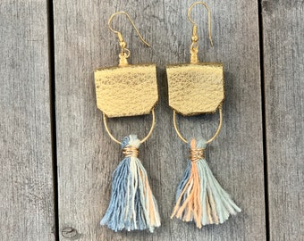Tassel & Gold Leather Earrings