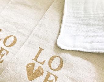 Personalized Organic Cotton & Cotton Linen Baby Burp Cloths