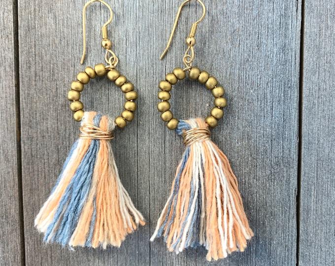 Featured listing image: Tassel & Czech glass beaded hoop Earrings