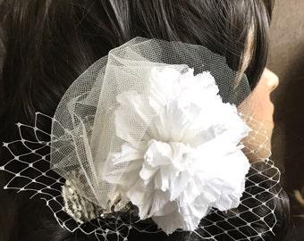 Bridal Hair Accessory // White Flower Clip