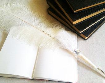 Wedding Guestbook Pen // Decorative White Long Feather Pen