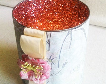 Large Decorative Metal & Paper Shimmering Candle Holders