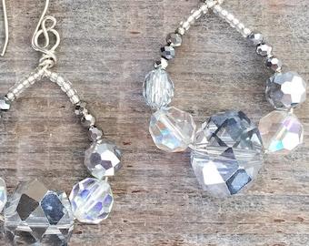 Bridal Hoop Earrings with Crystals