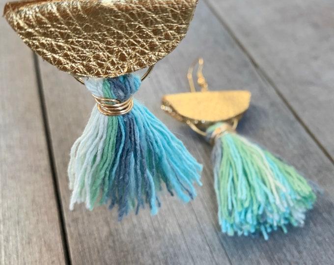 Featured listing image: Tassel & Leather Half Moon Earrings