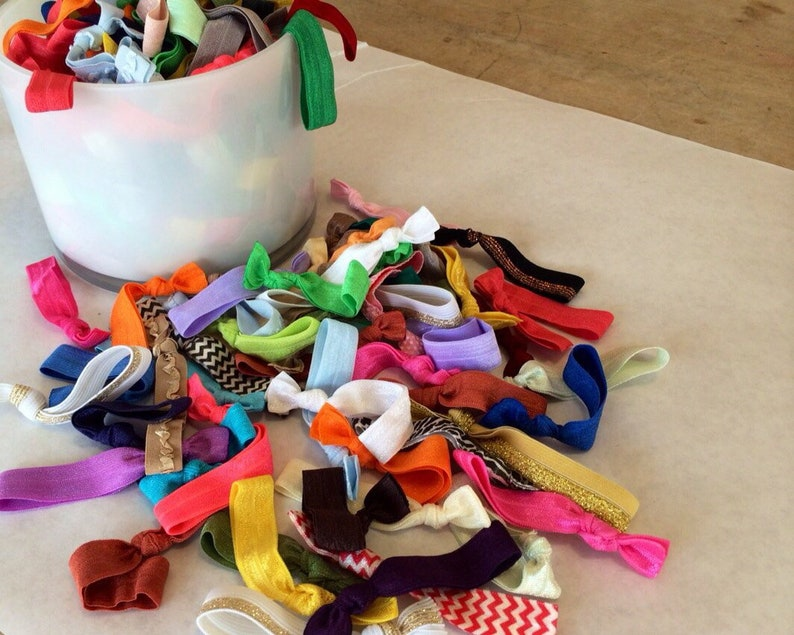 100 hairties Grab bag of hair ties Such A Deal Collection of ribbon elastic hair ties