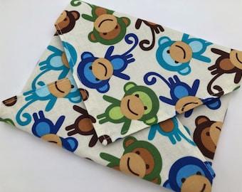 Reusable Sandwich Bag, Monkey Sandwich Wrap, Eco-friendly Sandwich Mat, Animal School Lunch - Monkey Blue