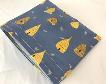 Reusable Snack Bag - Reusable Baggie - Bumble Bee Snack Bag - Fabric Snack Bag - Reusable Fabric Snack Bag - Honey Bee in Navy