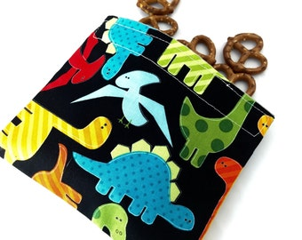 Reusable Snack Bag - Reusable Baggie - Dinosaur Snack Bag - Fabric Snack Bag - Reusable Fabric Snack Bag - Dinosaurs