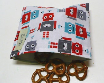 Reusable Snack Bag - Reusable Baggie - Robot Snack Bag - Fabric Snack Bag - Reusable Fabric Snack Bag - Robots