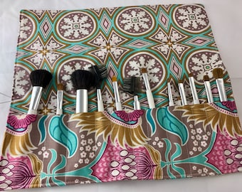 MakeUp Brush Holder - Makeup Brush Roll - Makeup Brush Organizer - Makeup Brush Case Makeup Brush Bag Joel Dewberry Aurora in Dijon