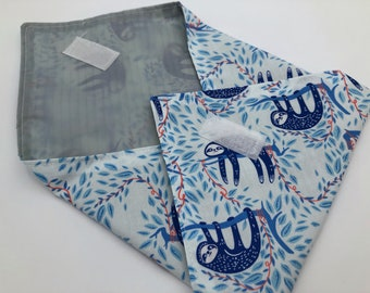 Reusable Sandwich Wrap, Sandwich Bag, Koala Bear Sandwich Mat, Ecofriendly Sandwich Holder - Sloths Blue