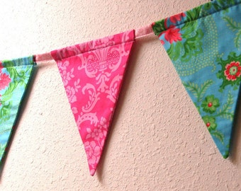SALE Pink & Aqua Damask, Party Banner, Bunting, Party Flags, Handmade, 6 Ft.
