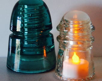 2 Vintage Green & Clear Glass Insulators