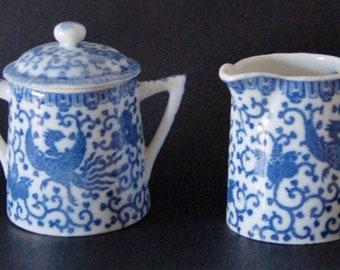 Vintage Phoenix Cream & Sugar Set, Blue, White China