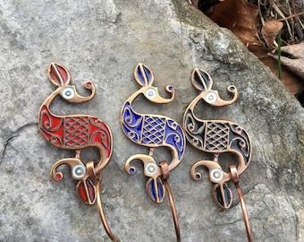 Dragonesque Enameled Celtic Fibula Pin
