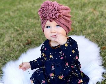 Soft waffle knit ruffle baby turban for newborn 3d149caeb8b