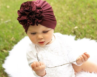 42408cc8b7be Soft ruffle baby turban for newborn, infant, and toddler