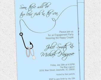 Engagement Party Invitation, Couples Bridal Shower, Two Less Fish in the Sea, Rings, Nautical, Fishing, Lake, Printable Digital File