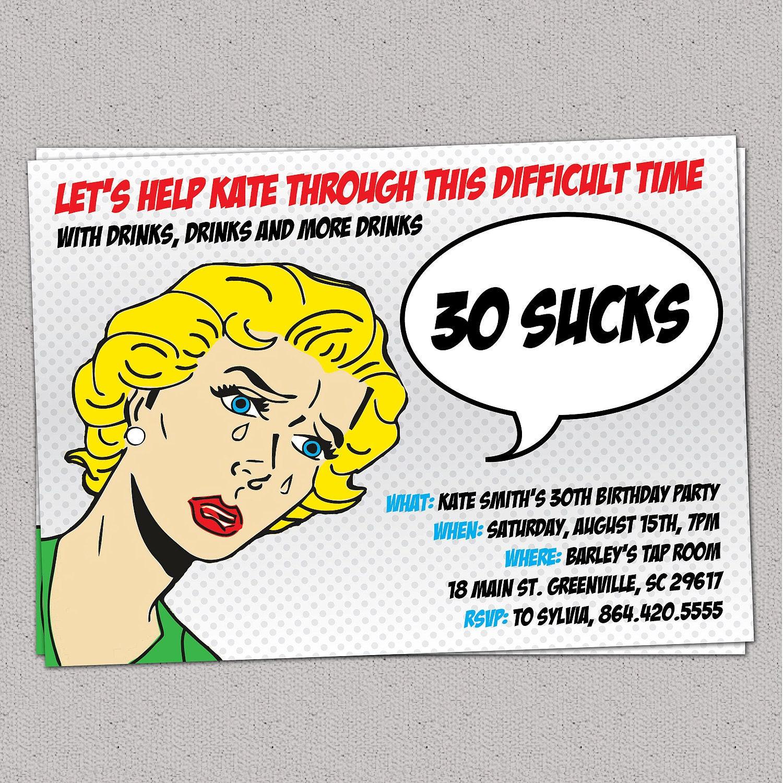 30 Sucks Birthday Party Invitation Retro Pulp Woman Funny | Etsy