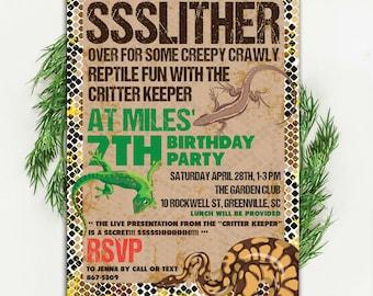 Slither Birthday Invitation, Creepy Crawly, Snake, Front, Lizard, Critter Keeper, Printable Digital DIY file