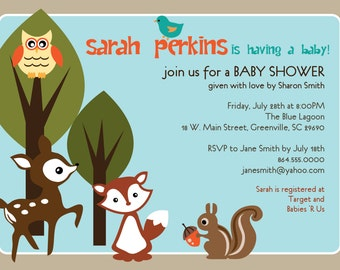 Printable Baby Shower Invitation, Woodland Animals Creatures Forest, Unisex, Boy Girl Gender Neutral Deer, Owl, Squirrel, Fox, DIY digital