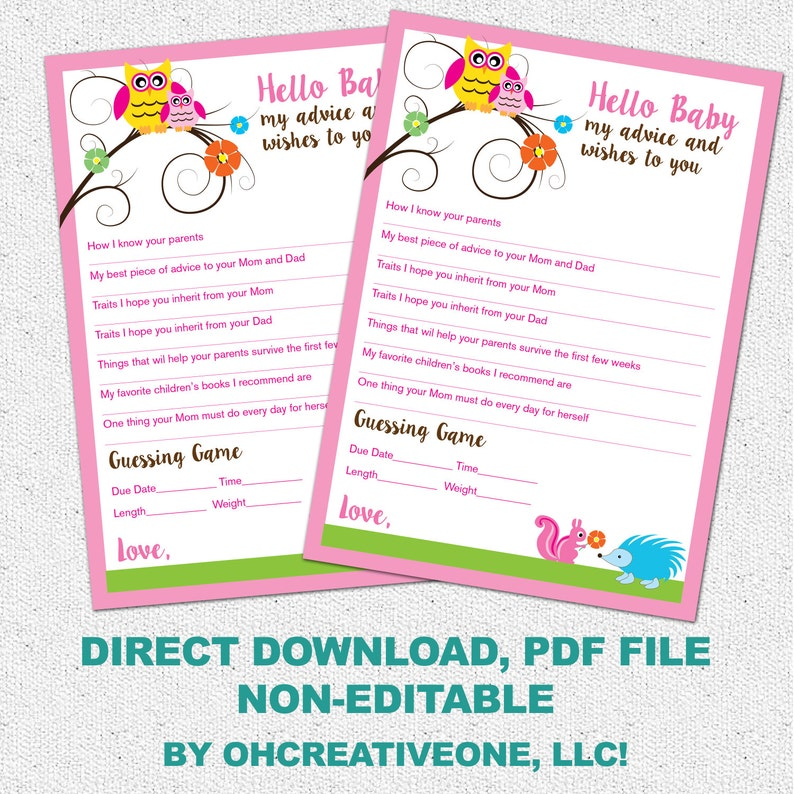 Advice and Well Wishes, Baby Shower Guessing Game, Printable Woodland  Animals, Owl, GIRL, Digital Direct Download File