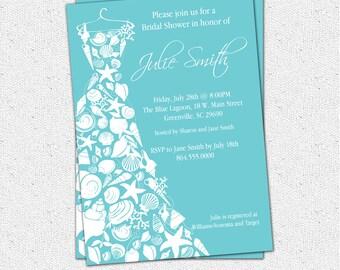 Bridal Shower Invitation Seashell Dress, Elegant Sea Shell, Beach, Custom, Printable Digital DIY file