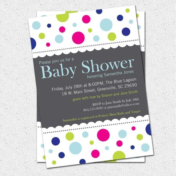 Baby Shower Invitation Printable Mod Dots Boy Or Girl Etsy