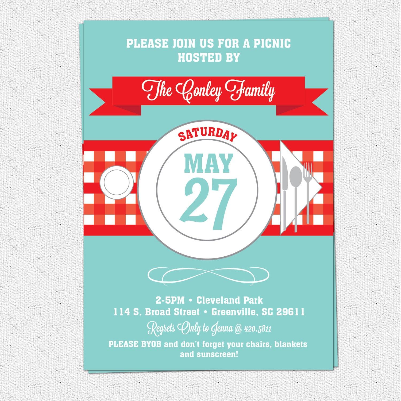 Picnic Invitation Summer BBQ Barbecue July 4th Checkered