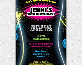 Printable Glow in the Dark Themed Party Invitation, Birthday Dance Party, DIY digital file