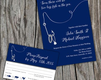 Two Less Fish in the Sea, Lake, Ocean, Wedding Invitations and RSVP/Reply Cards DIY Digital Printable