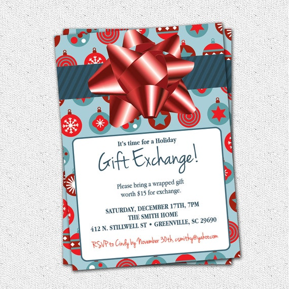 Items Similar To Christmas Holiday Gift Exchange Party Invitation Blue Or Green With Red Wrapped