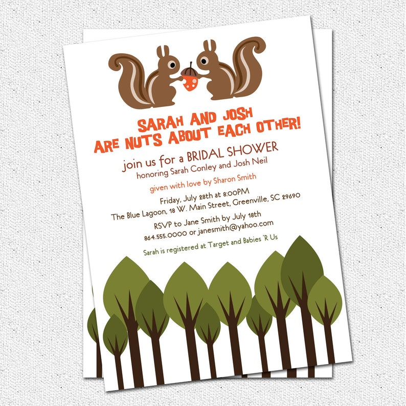 graphic relating to Printable Squirrel Target titled Bridal Shower Wedding ceremony Invites Printable , Squirrel Number of Bride and Groom, Crazy, Woodland Creatures Pets Do it yourself Electronic Report