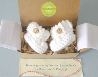 Grandparent Pregnancy Announcement, Baby Reveal, BOOTIES IN A BOX®  Cuffed Booties with Optional Wood Buttons, Newborn Booties in White
